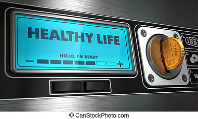 Healthy Life on Display of Vending Machine. - Healthy Life...