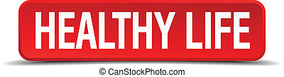 healthy life red 3d square button on white background