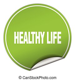 healthy life round green sticker isolated on white