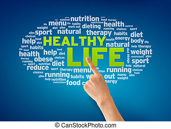 Healthy Life - Hand pointing at a Healthy Life word cloud on...
