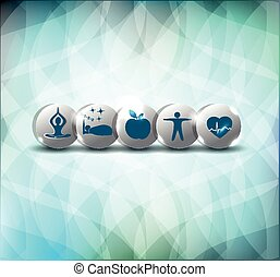 Healthy life style advices symbols. Healthy food, fitness, ...
