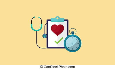 healthy life style heart cardio in checklist and icons