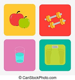 Healthy life style icon set. Apple, dumbbells, water, weight scale. Flat design.
