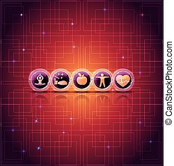 Healthy life style tips bright icons on a abstract background with light lines