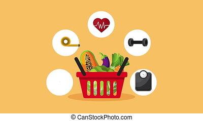 healthy life style vegan food in basket