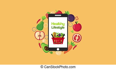 healthy life style vegan food in basket and smartphone