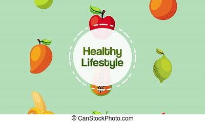 healthy life style vegan food pattern ,4k video animated
