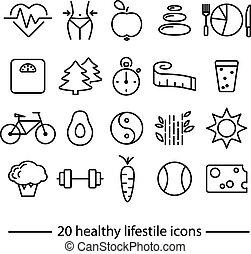 healthy lifestile icons - healthy lifestile line icons