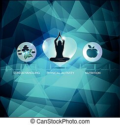 Healthy lifestyle abstract blue background