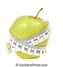 Healthy lifestyle - An apple with messure tape illustrating...