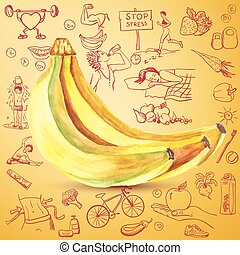 healthy lifestyle background with bananas