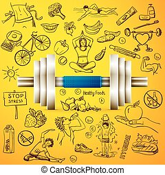 healthy lifestyle background with dumbbell