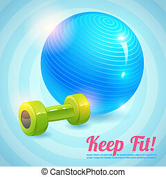 Healthy lifestyle background with gym ball and dumbbells keep fit background vector illustration