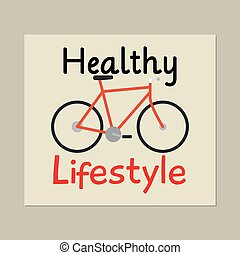 Healthy lifestyle card with bicycle