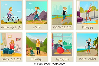 Healthy lifestyle cards set