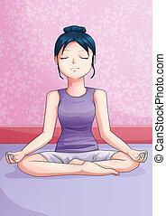 Cartoon illustration of a meditating young woman