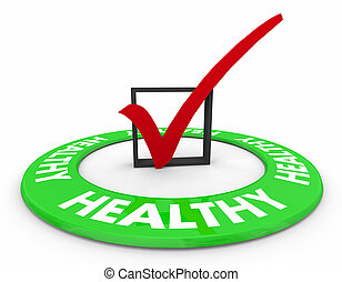 Healthy Lifestyle Choice Check Mark Box Approved Diet Fitness Exercise 3d Illustration