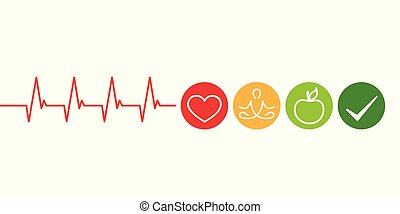 healthy lifestyle concept cardiology with heart yoga and green apple vector illustration EPS10