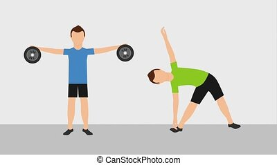 healthy lifestyle concept - fitness men lifting weight and...