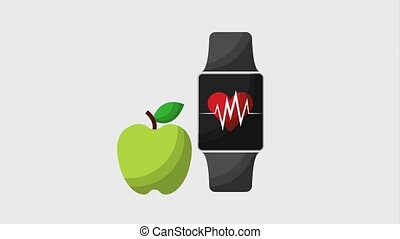 healthy lifestyle concept - green apple and smart watch with...
