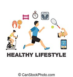 Healthy Lifestyle concept - Fitness, Gym, Cardio, Healthy...