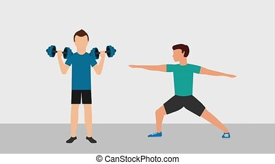 healthy lifestyle concept - men in gym making sport fitness...