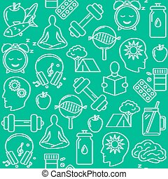 Healthy lifestyle concept seamless pattern in line style