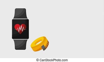smart watch fitness app tape measure healthy lifestyle animation