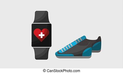 healthy lifestyle concept - smart watch sneakers medical...