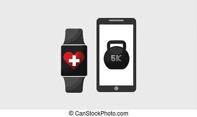 healthy lifestyle concept - smartphone and smart watch sport...