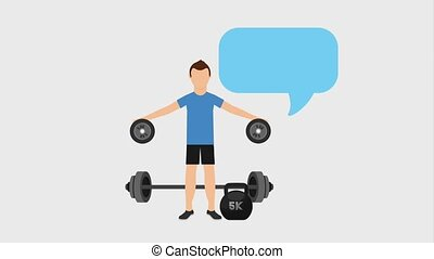 healthy lifestyle concept - sport man training with barbell...