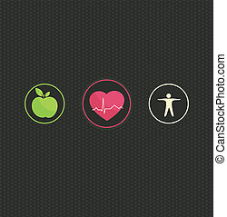 Healthy lifestyle concept illustration. Colorful symbol set on a dark dots background. Healthy food and fitness leads to healthy heart and life.