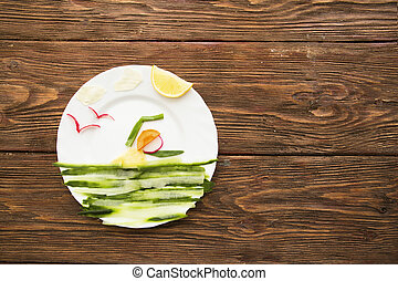 Healthy lifestyle concept - vegetable swimmer athlete