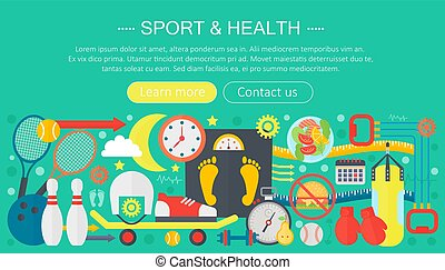 Healthy lifestyle concept with food and sport icons. Sport and fitness flat concept infographics template header design. Active life Vector illustration.
