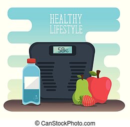 healthy lifestyle desigh with scale and fruits - healthy...