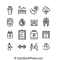 Healthy lifestyle fitness line icons vector set. Editable ...