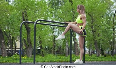 Healthy lifestyle fitness woman warmup legs before workout