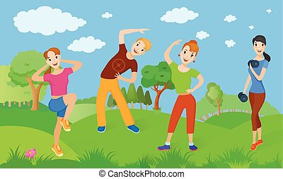 Healthy lifestyle from a group of people who do exercise outdoors