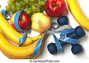 Healthy lifestyle - fruit food, sport exercising
