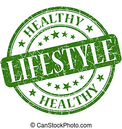 Healthy lifestyle green round grungy vintage rubber stamp