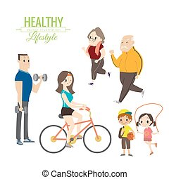 healthy lifestyle happy family exercising