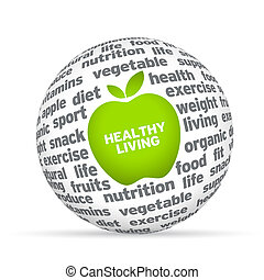 Healthy Lifestyle - Healthy lifestyle 3d sphere on white...