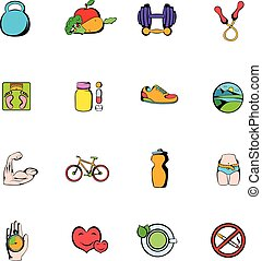 Healthy lifestyle icons set cartoon