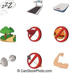 Healthy lifestyle icons set, cartoon style