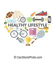 Healthy lifestyle illustration. Heart-shaped collection of items.