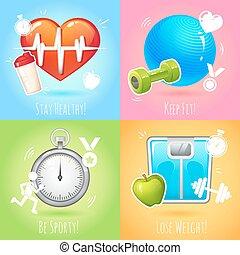 Healthy lifestyle illustration set