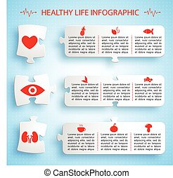 Healthy Lifestyle Infographics Puzzle Design