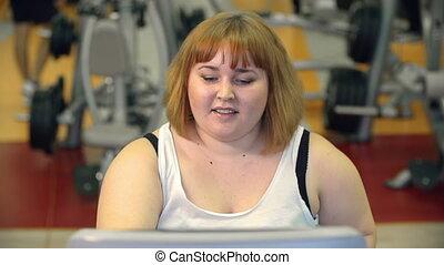 Healthy Lifestyle Joy - Close up of woman treadmill jogging...