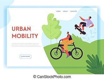 Healthy Lifestyle Landing Page Template. Active Characters Woman on Bicycle and Man on Skateboard in the Park for Web Page, Mobile Website. Vector illustration