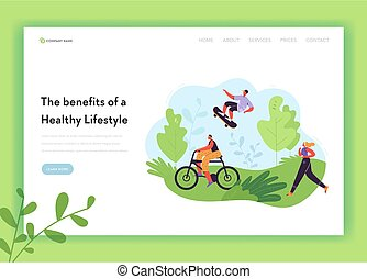 Healthy Lifestyle Landing Page Template. Active Characters Woman on Bicycle and Running Girl in the Park for Web Page, Mobile Website. Vector illustration